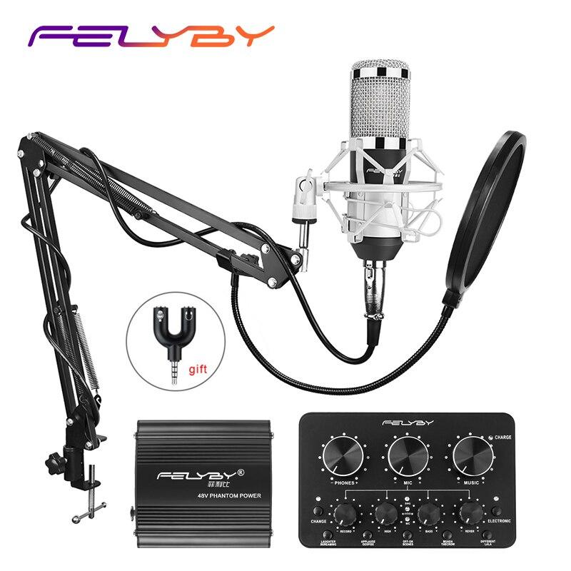 HOT! FELYBY bm 800 Condensador conjunto microfone de gravação profissional para computador com alimentação Fantasma e Multi-função da placa de som