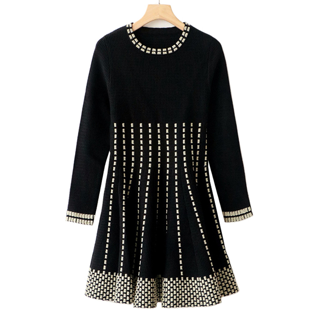 Tunjuefs Design Vintage Sparkle Dress Women Pullover Slim Lurex Striped Dress Knit Vestido Autumn Winter Dress Runway Robe