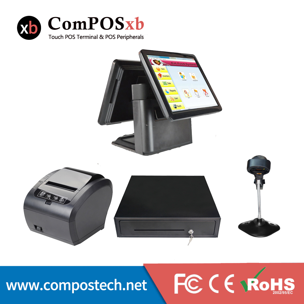 15 inch Supermarket pos system pos all ine one cash register dual screen pos terminal with 80mm receipt printer cash drawer pos all in one nice quality hot sales 12 inch touch cash register pos machine 58mm receipt printer cash drawer barcode scanner