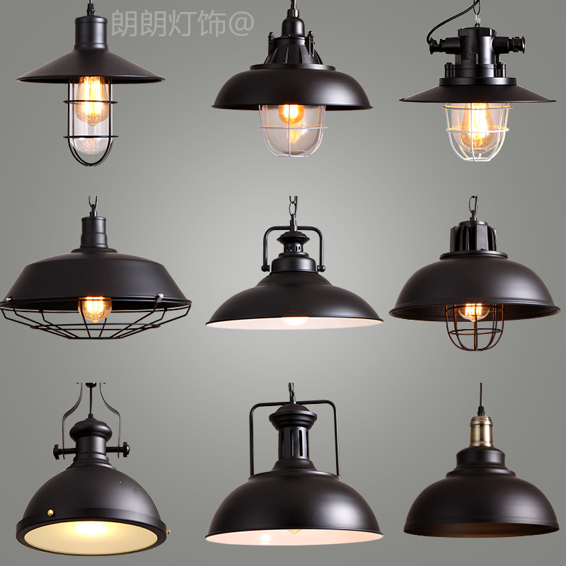 Industrial Retro Style Art LED Pendant Light Black White Edison Light Bulb Pendant Lamp Hanging Light Luminaries Lampshade