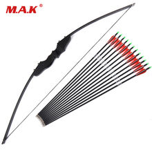 цена на 30/40lbs Recurve Bow with 12pcs Carbon Arrowss for Right Handed Archery Bow Shooting Hunting Game Outdoor Sports