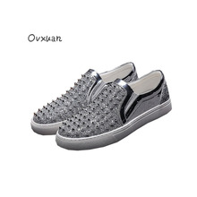 Ovxuan Bright Sequins Leather Men Casual Shoes Silver Short Rivets Men Loafers Fashion Street and Party Men Dress Shoes 2017