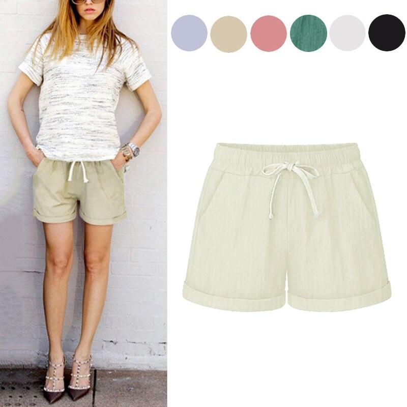 Newly Summer Women Wide Leg Shorts Cotton High Waist Drawstring Pockets Girl Casual Shorts Plus Size M-6XL VK-ING