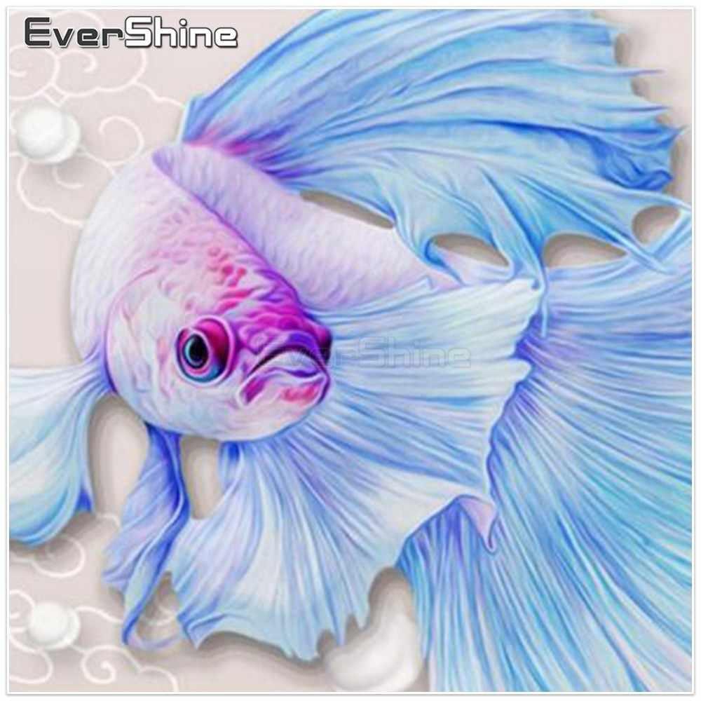 EverShine DIY เย็บปักถักร้อยเพชรปลาเพชรจิตรกรรมรอบ CROSS Stitch สัตว์เพชรภาพโมเสคของ Rhinestones