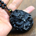 Drop Shipping Unique Natural Black Obsidian Carving Chinese Dragon Lucky Amulet  Pendant Necklace For Brave men's  Jade Jewelry