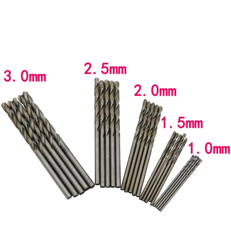 High Speed Steel Twist Drill / Straight Shank Drill Hand Drill Bit 1.0-3.0mm Round Handle