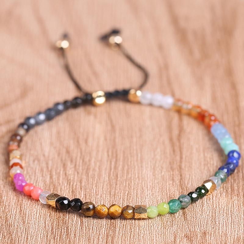 DIEZI 12 Constellation chanceux pierre perles Simple Bracelet 3mm perles réglable Bracelet bohême unisexe femmes Chakra Bracelets