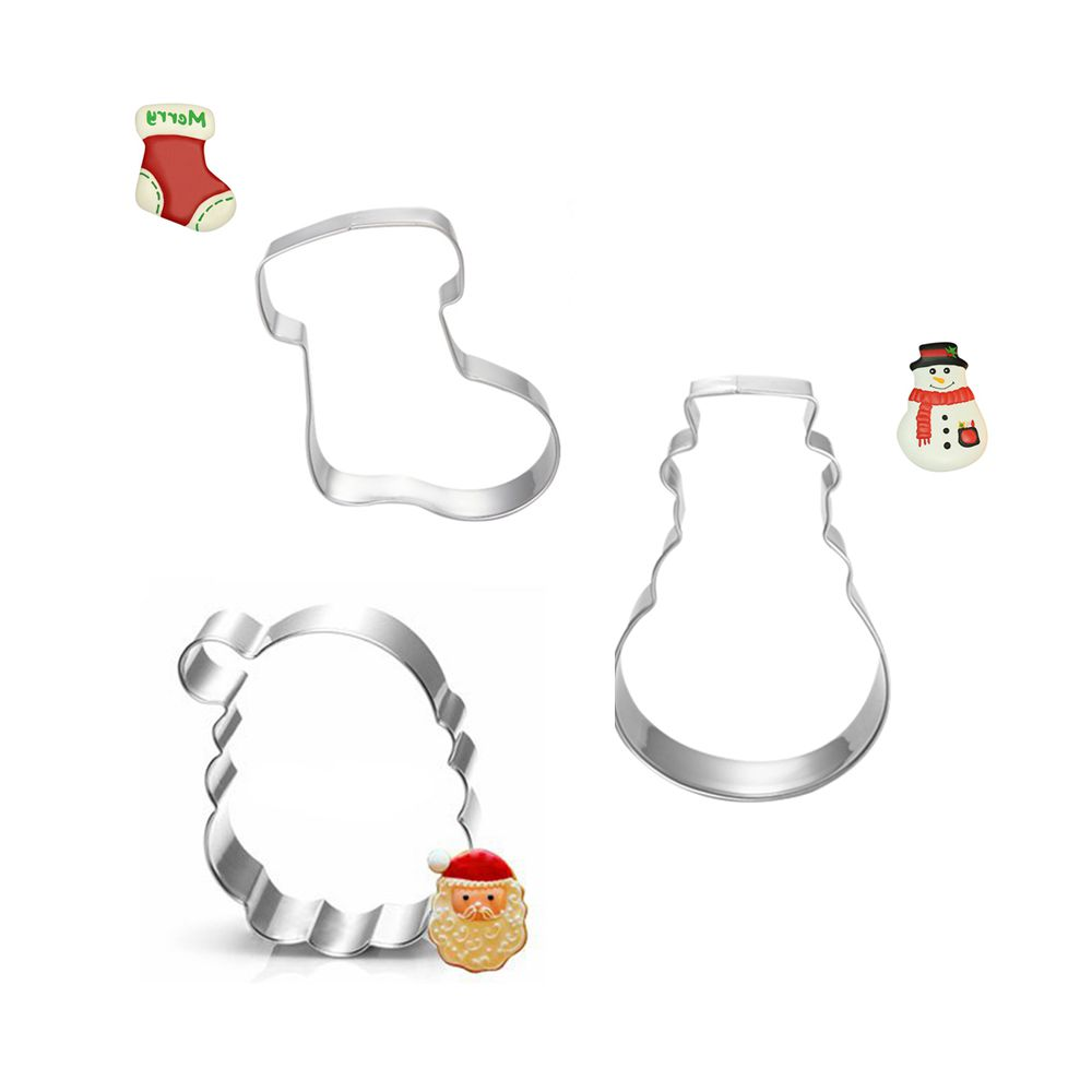 3pcs Christmas Fruit Vegetable Biscuit Cookie Cutter Tools Bakeware Set  Metal Cake Decorating Tools Form Stainless Steel Mold