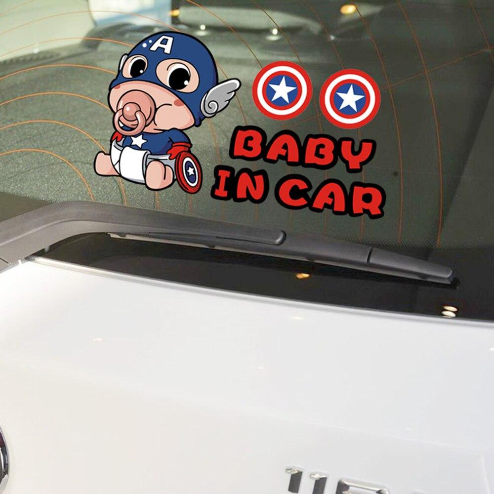 Aliauto Baby In Car Sticker Captain America Cartoon Warning Decal For Volkswagen Skoda Polo Golf Kia Opel Peugeot Mazda Toyota democracy in america nce