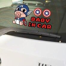 Aliauto Baby In Car Sticker Captain America Cartoon Warning Decal For Volkswagen Skoda Polo Golf Kia
