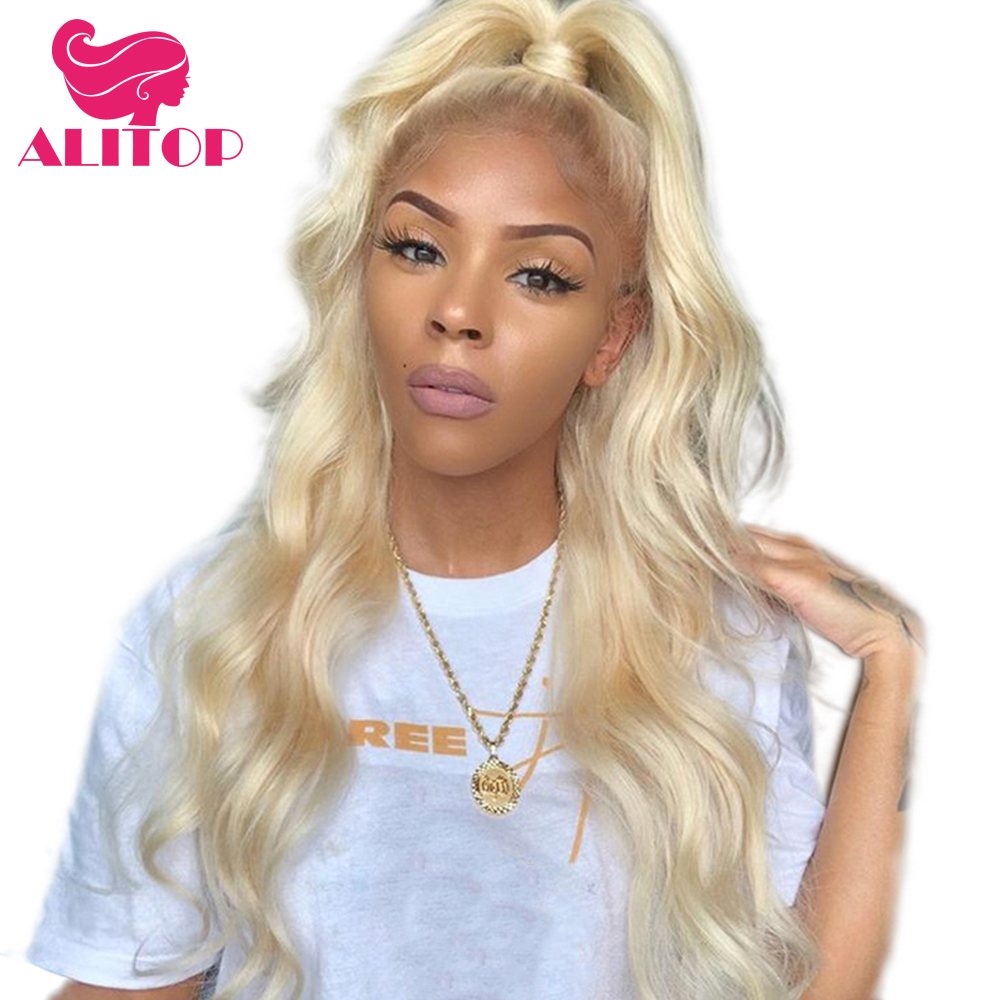 ALITOP Hair Body Wave 613 Blonde Lace Front Human Hair Wig With Baby Hair 13x6 Remy Brazilian Glueless Lace Frontal Hair Wigs image