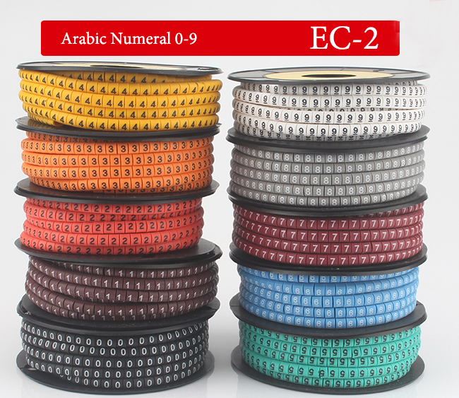 1000pcs/Lot EC-2 4mm2 0-9 Letter Print Pattern PVC Flexible Arabic Numeral Sleeve Concave Tube Label Wire Network Cable Marker