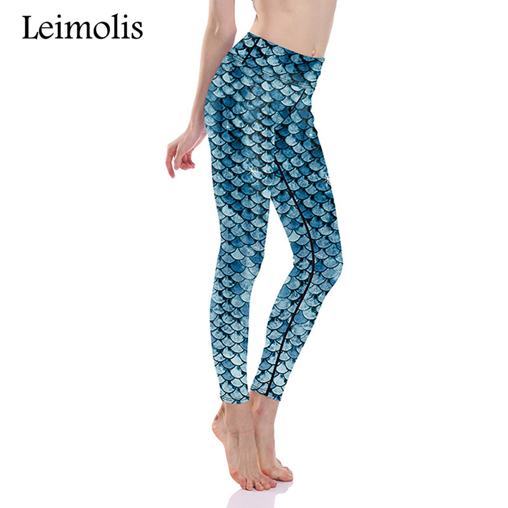 Leimolis 3D print fish scale mermaid winter warm Harajuku High Waist workout push up plus size fitness leggings women pants