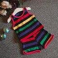 2-6 T Crianças Roupas de Verão Terno Listrado Definir Sleeveles Vest + Pant 2 pcs Roupas de Bebê Da Criança Esportes crianças Terno Y0045