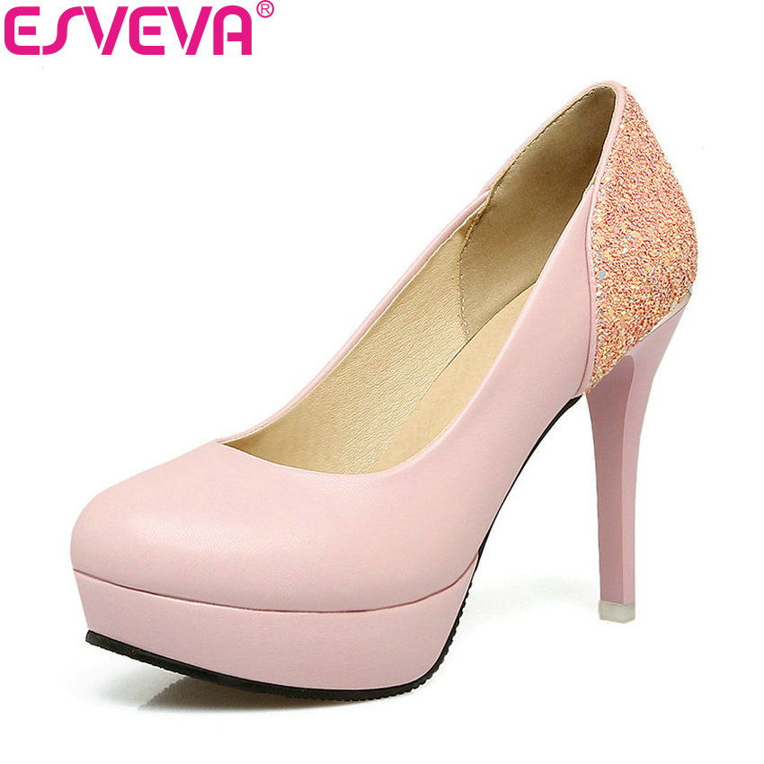 ESVEVA 2018 Women Pumps Bling Shoes Sweet Style Slip on Elegant Pumps Thin High Heel Round Toe Platform Women Shoes Size 34-43 2017 shoes women med heels tassel slip on women pumps solid round toe high quality loafers preppy style lady casual shoes 17