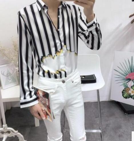 6976eeb38252c Online shop hot new mens clothing personality black white jpg 469x496 Black  and white striped silk