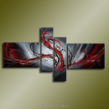 High Quality Abstract Line Landscape Flower Oil Painting On Canvas 5 Pcs Set Home Modern Wall Art Decoration For Living Room