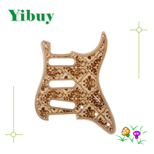 Yibuy 28.2×22.5cm Wood Flower Pattern SSS Guitar Pickguard Replacement