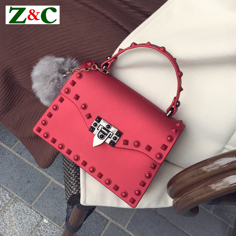 Luxury Brand Ladies Stylish Shoulder Messenger Bags Matte Jelly Handbag Rivet Design Crossbody Bags for Women Sac Bolsa Feminina