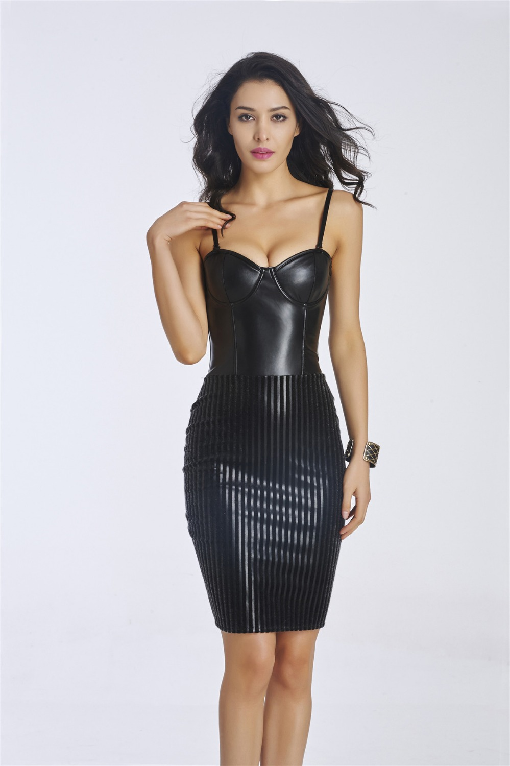 Black dress office - Sexy Black Leather Slim Fit Corset Style Formal Office Lady Dress China Mainland