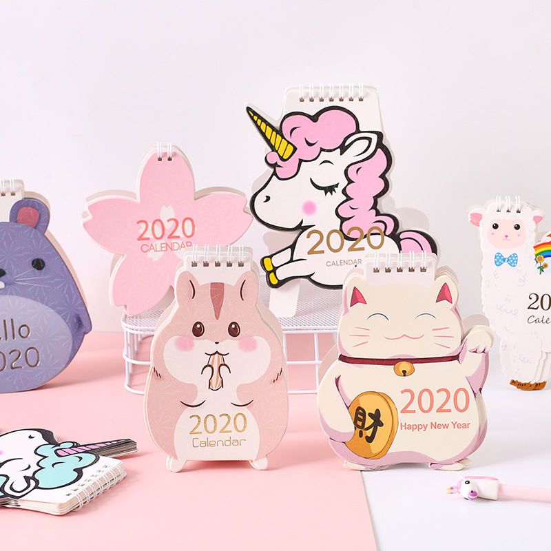 New 2020 Cute Unicorn Cat Laser Mini Desktop Calendar Cherry Blossom Calendar Daily Schedule Planner 2019.07~2020.12