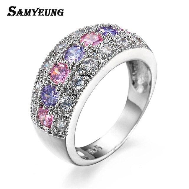 Samyueng Luxury Australia Crystal Silver Ring for Women Finger Rings