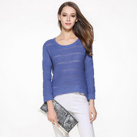 Knitted Sexy Asymmetrical See Through Sweater for Women Hot Girls Drop Shoulder Sheer Pullover High Low Jumper Oversized S L