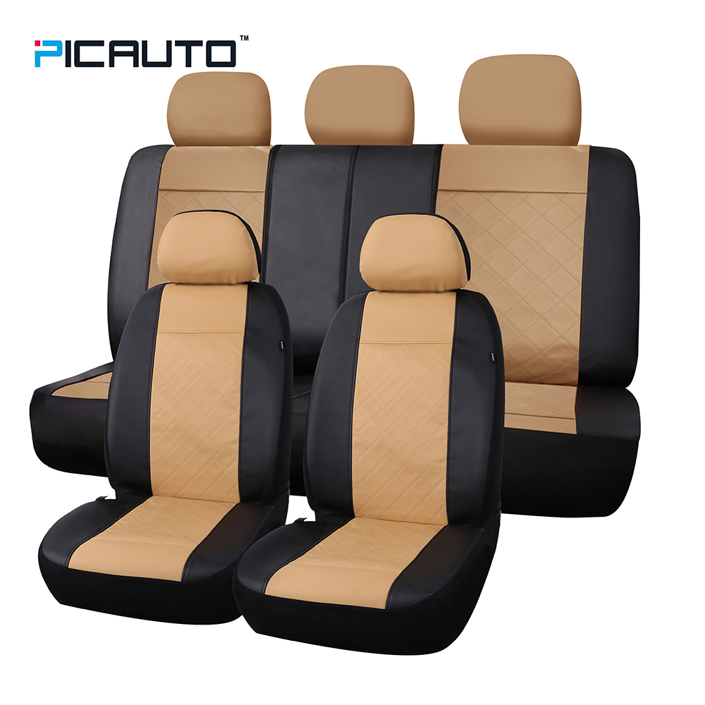 PIC AUTO Seat Covers Universal Fit Cars Seat Protector 3D Splicing Technology Premium Quilted Stitched Leather Full Set 5 Colors kitbwkk5000rcp750411 value kit rubbermaid autofoam touch free skin care system rcp750411 and boardwalk premium half fold toilet seat covers bwkk5000