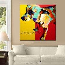Pop Art Hund Haustiere Auf Leinwand Moderne Abstrakte Malerei Handgemachte Lgemlde Tier Kunst Wohnkultur Wohnzimmer Room1