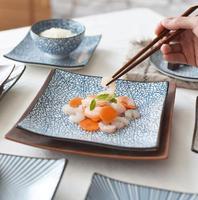 Japanese quadratischen form Keramik e Geschirr fabrik großhandel keramik geschirr Blauen und Weißen porzellan abendessen plat