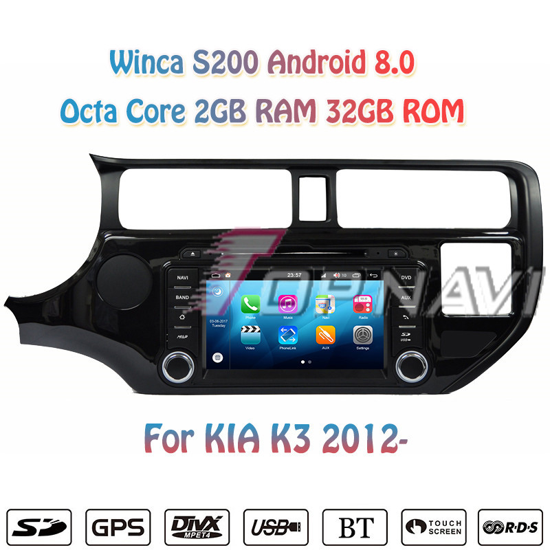 Topnavi 7'' Octa Core S200 Android 8.0 Car DVD Multimedia Player for KIA K3 Audio Radio Stereo 2DIN GPS Navigation In Dash Wifi