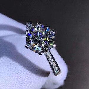 Image 5 - النقي 18K خاتم من الذهب الأبيض 1ct 2ct 3ct ممتازة كربيد سيليكون مقطع الكلاسيكية مجوهرات الزفاف الخطوبة خاتم للذكرى