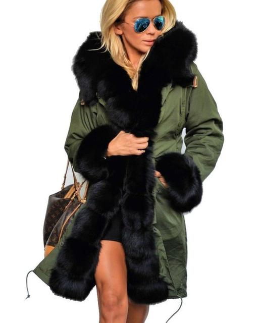 2016 Diseñador de Moda de Invierno de Las Mujeres Outwear de Largo Causal Sólido Cuello de Piel de Piel Con Capucha Caliente de Manga Larga Con El Tamaño Grande Parkas