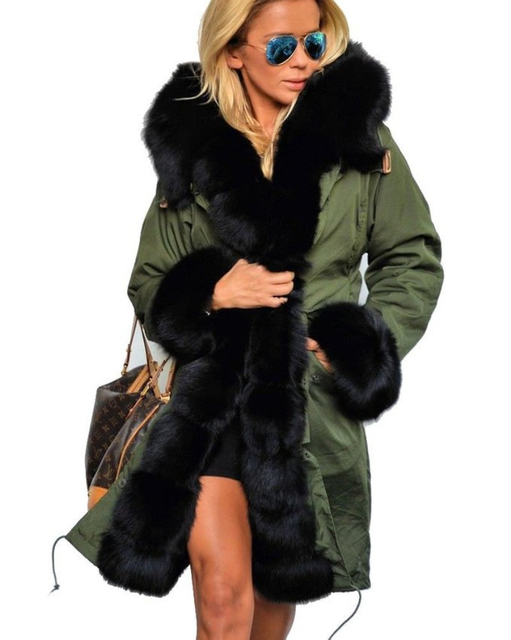 2016 Winter Designer Fashion Women's Outwear Long Causal Solid Fur Hooded Warm Long Sleeve With Big Size Fur Collar Parkas