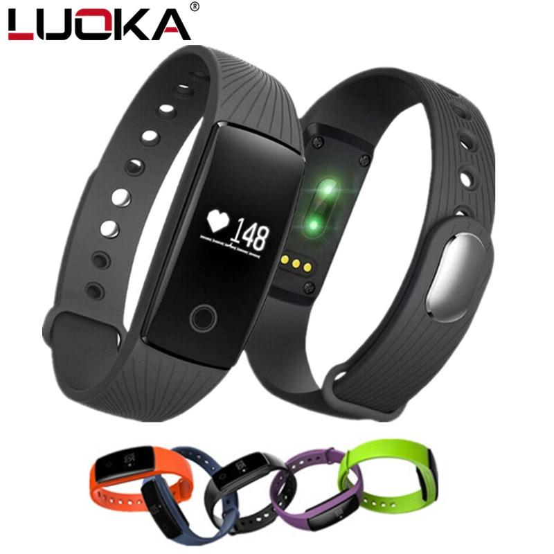 LUOKA pulseira Inteligente Pulseira Pulseira De Fitness Monitor de Freqüência Cardíaca para Android iOS PK xiomi mi Banda 2 fitbits ID107 inteligente