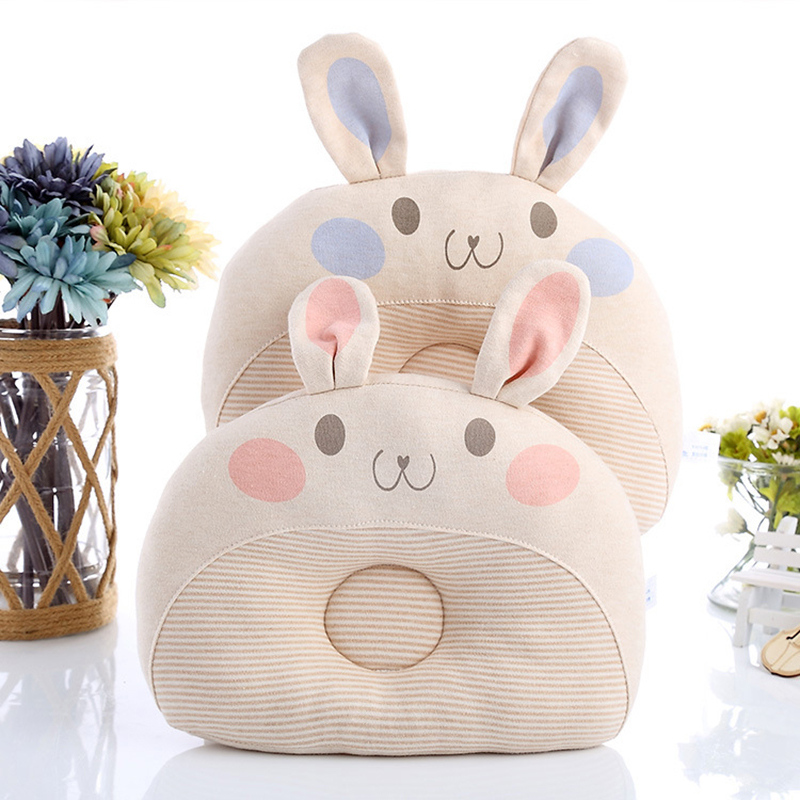 Newborn Infant Baby Anti Roll Pillow Cute Rabbit Anti Flat Head Breathable Washable Neck Prevent Kids Bedding Gift 100% Cotton