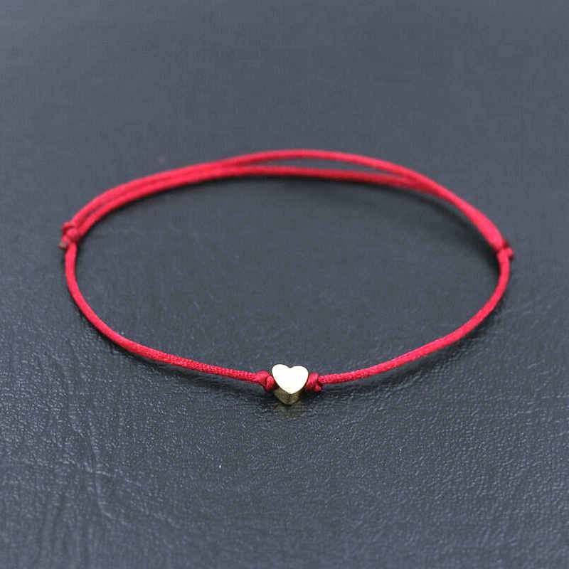 BPPCCR Handmade Stainless Steel Love Heart Shape Charm Bracelet Thin Red Rope Thread String Bracelets For Men Women Couples