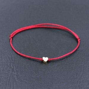 BPPCCR Handmade Stainless Steel Love Heart Shape Charm Bracelet Thin Red Rope Thread String Bracelets For Men Women Couples(China)