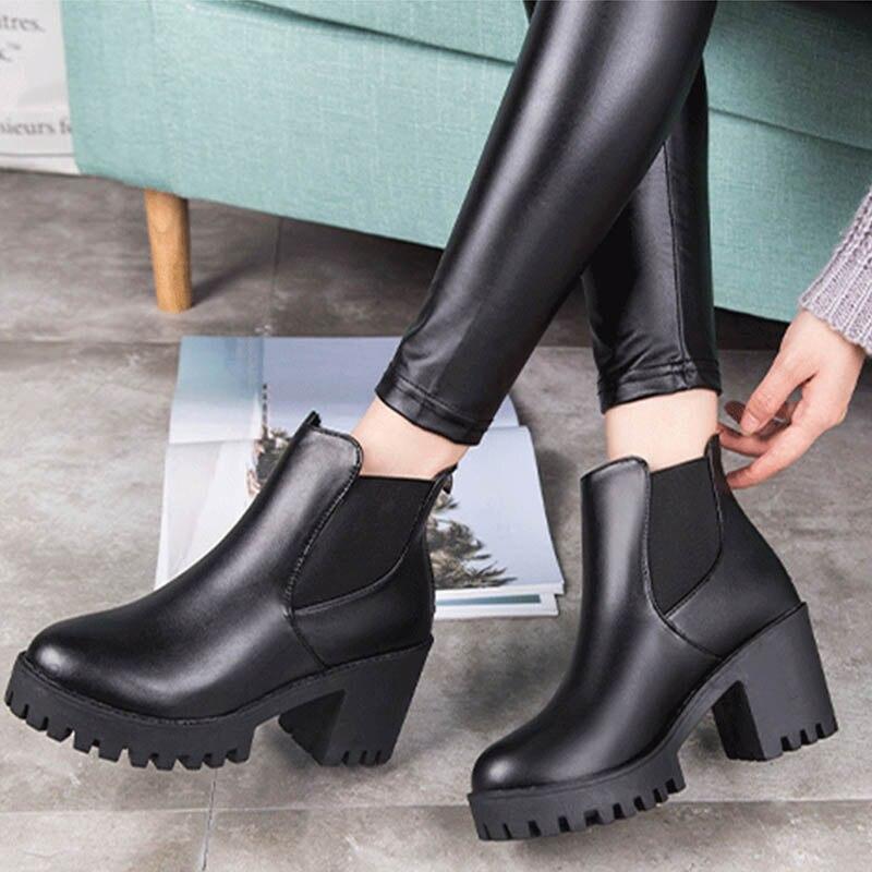 2018 Women Autumn Chelsea Ankle Boots Female Elastic Band Chunky Heel Platform Slip On Mid Heels Ladies Fashion Casual Shoes цена