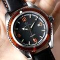 Enfriar orange números orkina cuero genuien mujeres reloj caja de engranajes de reloj fecha reloj de cuarzo deportes femeninos ocasionales