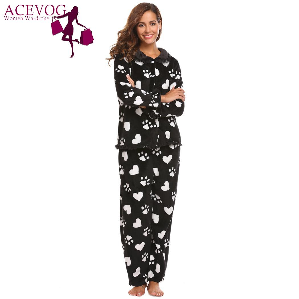 ACEVOG Long Plush Pajamas Top Maternity Sleeve Set Pants Long and Pieces  Two Women Sleepwear Fashion Nightwear For Women-in Pajama Sets from Women s  ... 69c727ea8