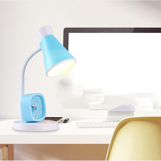 Nuevos Niños Estudio de La Lámpara 110 v-220 v 3 Vatios De Ahorro De Energía de Color Rosa Interruptor de Botón LED Estudio Lámparas de mesa Precioso Reloj Despertador Mudo luz