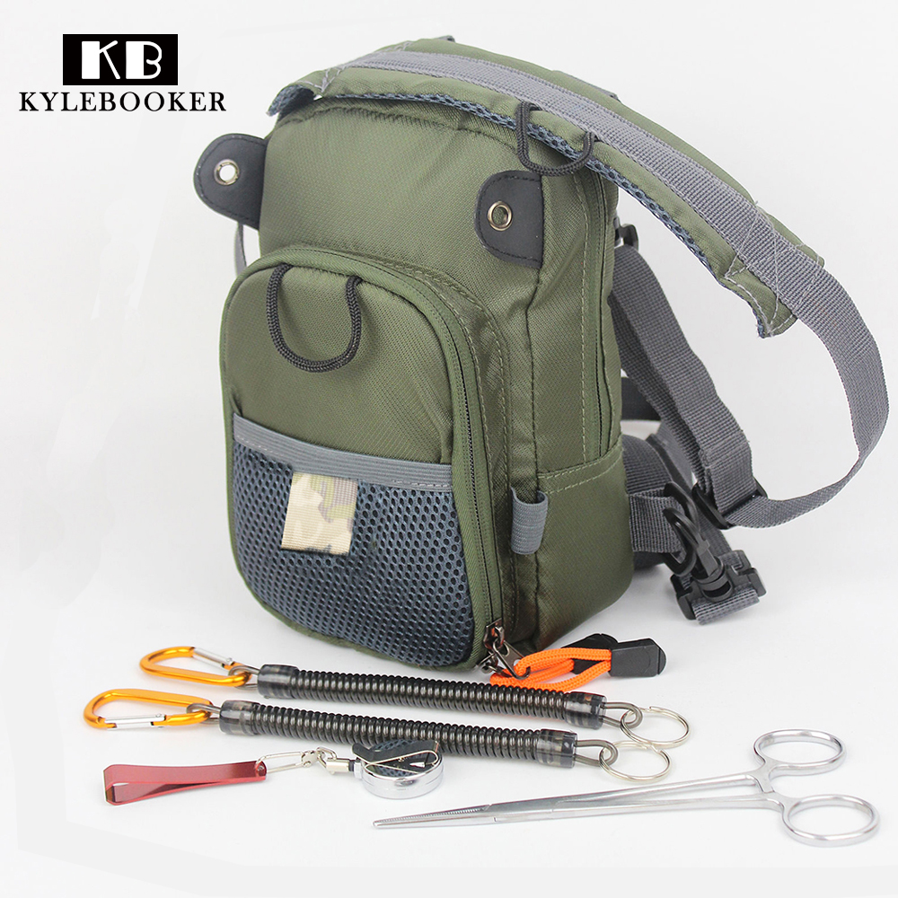 Outdoor Multifunctional Adjustable Army Green Fly Fishing Tackle Accessories Chest Pack Kits 2 Layer Storage Tools Bag