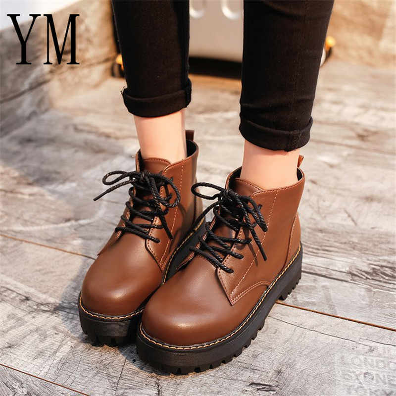 Ankle Boots Round toe Women Boots Lace Up Flat Biker Military Army Combat  Black Shoes Woman 2e23edefccb6