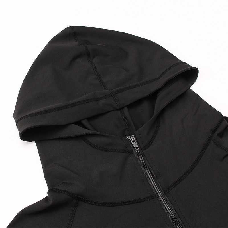 2018 chaquetas para correr para hombre, sudaderas deportivas de otoño, con cremallera, sudaderas ajustadas, chaqueta con capucha para senderismo, a prueba de viento al aire libre