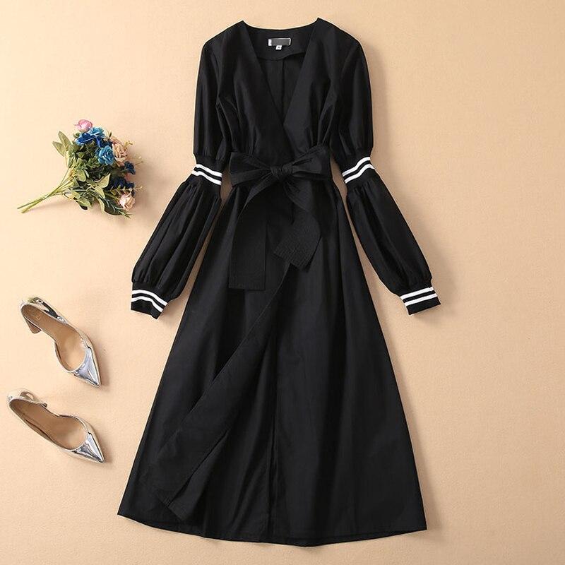 Kadın Giyim'ten Elbiseler'de Uzun elbise Pist Yüksek Kalite 2019 Bahar Yenİ Kadin Moda Parti Çalışması Vintage Zarif Şık Tatlı Siyah Uzun Kollu Elbiseler'da  Grup 3