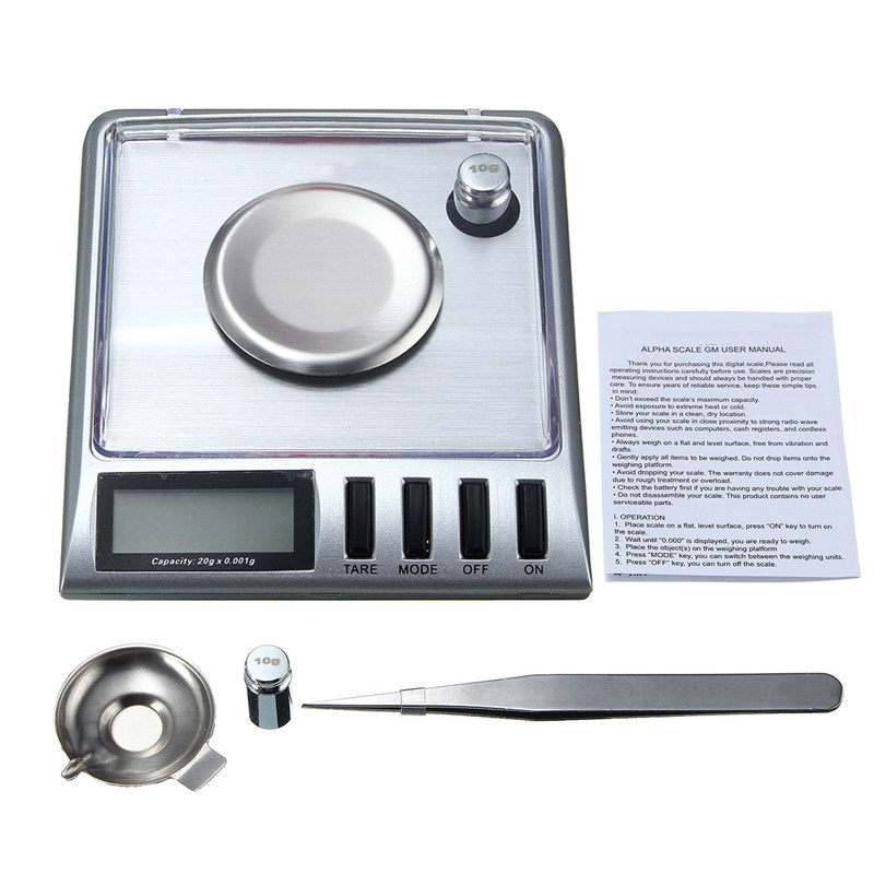 Scale 20g 0.001g Digital Pocke t Electronic Stainless Steel Jewelry Gram g/o z/o zt/dwt/ct/gn with Salver Tweezer Weight