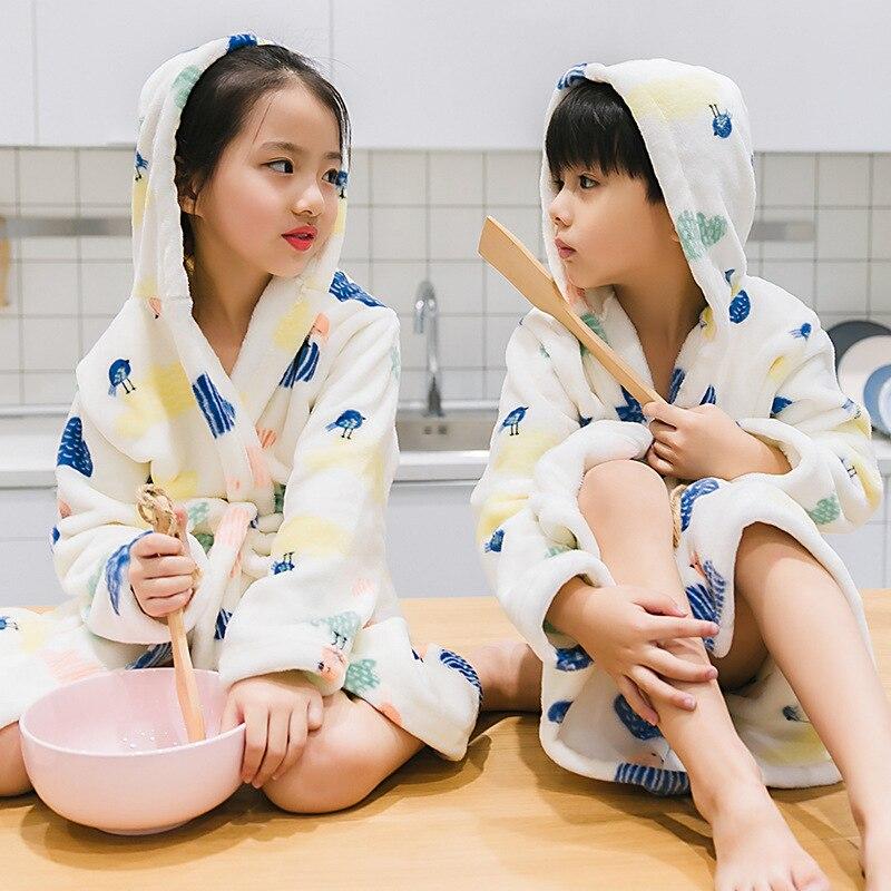 Baby Girls Boys Bathrobe Winter Pajamas Coral Velvet Robes Hooded Sleepwear Girls Clothes Flannel Bathrobe Kids Clothes