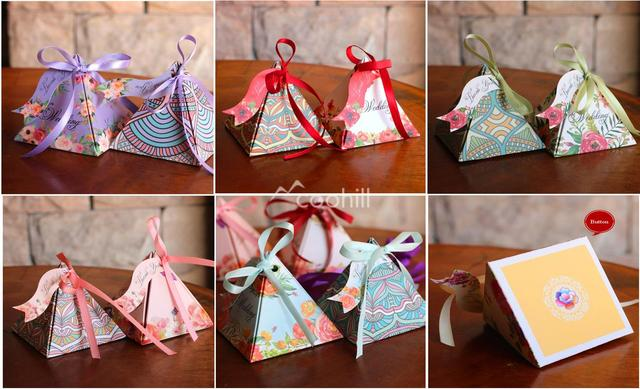 50pcs Wedding Favors And Gifts Box Pyramid Indian Style Print Candy