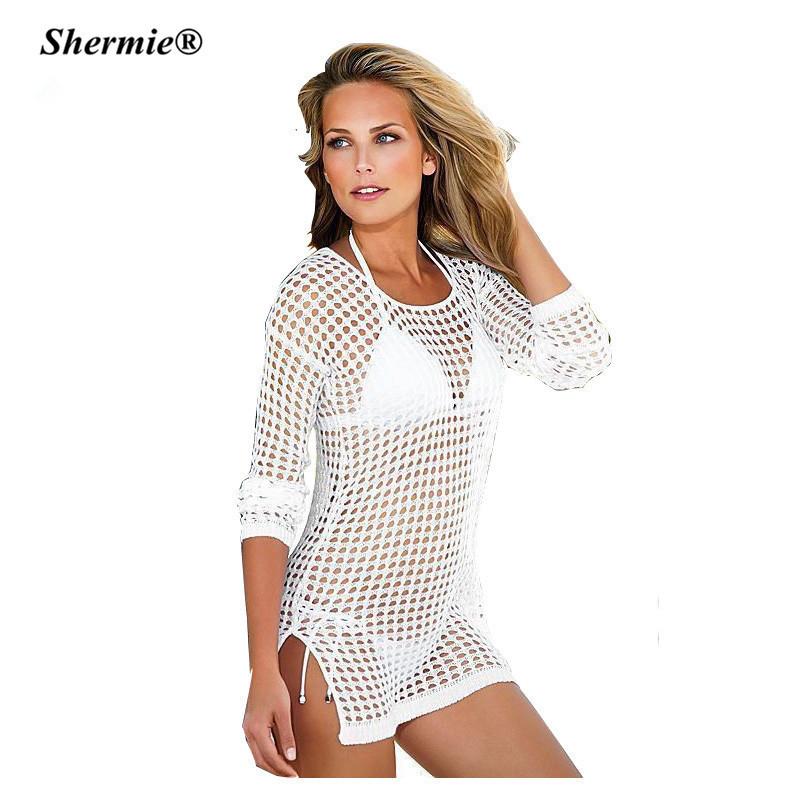 93d8113547513 ... Beach Cover Up Mesh Swimwear Crochet Saida De Praia hollow Swimsuit  Summer Dress Womens Lace Bathing ...